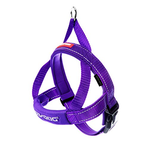 EzyDog Premium Quick Fit Adjustable Premium Dog Harness Vest with Reflective Stitching - Perfect for Training, Walking, and Control - Padded for Comfort (Large, Purple)