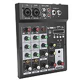 Mezclador de audio portátil, Consola de mezclas BT portátil de 4 canales Mezclador de audio...