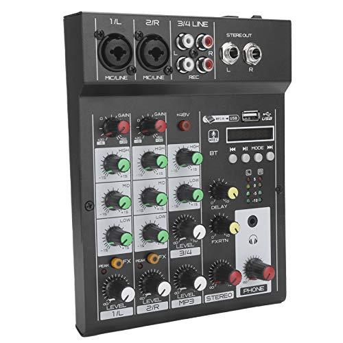 Mezclador de audio portátil, Consola de mezclas BT portátil de 4 canales Mezclador de audio digital Efecto de reverberación incorporado para Karaoke, Webcast, Grabación de música(Enchufe de la UE)