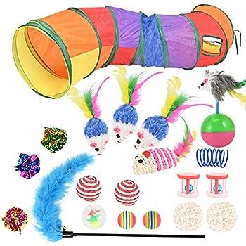 Jouets Chat 20 Pièces Jouet Chat Jouet Pour Chat Jouet Chaton Jeux Chat, Contenir Tunnel Pour Chats,plumes, Cloches, Souris, Balles.