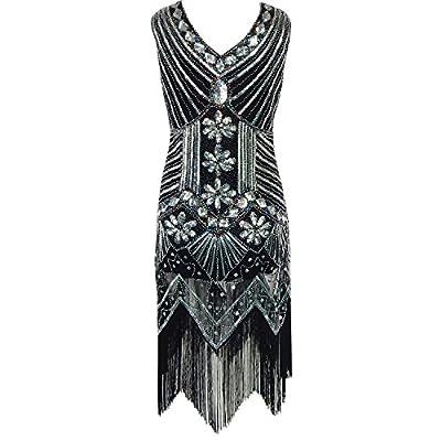 Velidy Women's Classic Gatsby Sequin Dress V Neck Sleeveless Tassel Flapper Cocktail Latin Party Dress