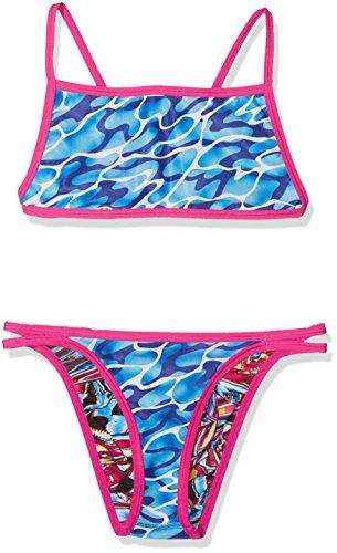Speedo Waterflow/Fireglam Flip Reverse, Costume da Bagno Bambina, Rosa (Electric Pink/Turquoise/Amparo Blue), 36 (IT 46)