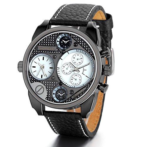 JewelryWe Herren Armbanduhr, Elegant Casual Sportuhr Analog Quarz Schwarz Leder Armband Uhr mit Weiß Große Zifferblatt, 3 Modellen