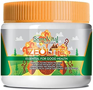 SomaVital Zeolite Powder Removes Toxins, Improves Immune System, Weight Loss Aid, Normalizes Blood Pressure. 100% Organic, Ultra Fine, Non-GMO, Gluten Free, Vegan, Odorless, Tasteless 90 Servings