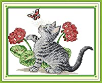 クロスステッチ刺繍キット 図柄印刷 初心者 ホームの装飾 刺繍糸 針 布 11CT Cross Stitch ホームの装飾 蝶と遊ぶ子猫 40x50cm