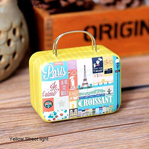 Retro Koffer Music Box Kasteel in de hemel Clockwork Drive Metal creatief cadeau Mini Music Boxes Kleurrijke QPLNTCQ (Color : Yellow street light, Size : Free)