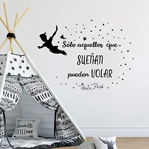 decalmile Pegatina de Pared Peter Pan Frases Sólo Aquellos Que SUEÑAN Pueden Volar Motivadora Letras Vinilo Adhesivos Pared Habitación Infantiles Niños Bebés Guardería