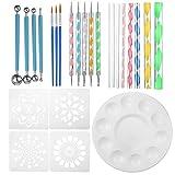 ZJYSM 25pcs / Set Mandala Doting Tools Rock Painting Kits Dot Art Pen Pint Tentil Art Kit