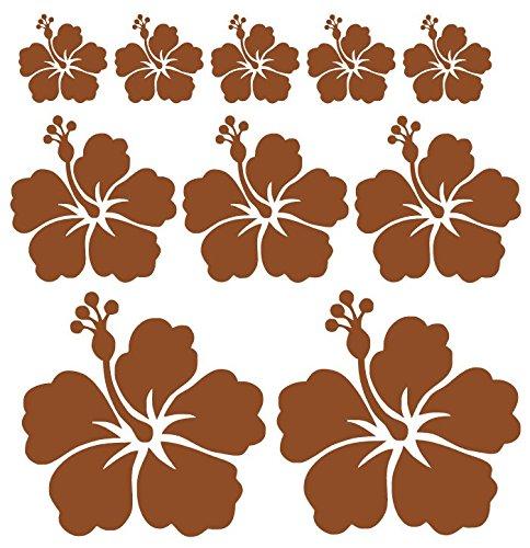 Autoaufkleber oder Wandtattoo Hibiskus Blumen Set mit 10 Blumen in verschiedenen Farben (Braun Matt wandtattoo)