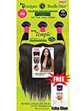 "Janet Wig Brazilian Bundle Hair Bundle Straight 3pcs | Bundle body 3pcs | + 13""X4"" Temple Lace 