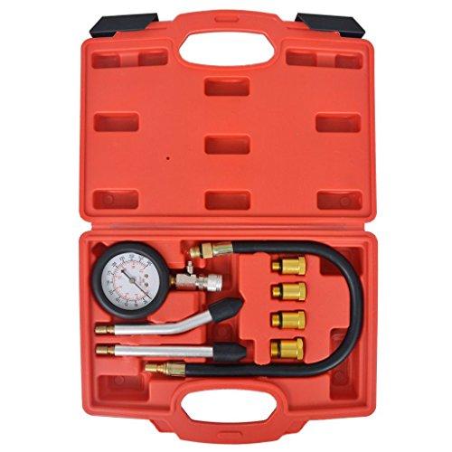 Festnight Profesional Medidores de Compresión,Kit de Compresión de Motor de Gasolina 8 Piezas