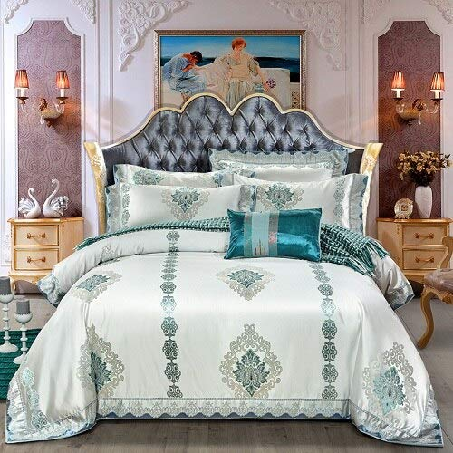 LEV Bedding Sets - European Style Golden Jacquard Satin Luxury Bedding Sets/Bedclothes Queen King Size Duvet Cover Bed Linen Sheet Set Pillowcase - by 1 PCs