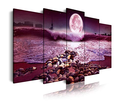 DekoArte 523 - Cuadros Modernos Impresión de Imagen Artística Digitalizada | Lienzo Decorativo Para Salón o Dormitorio | Estilo Paisaje Nocturno con la Luna iluminando la Playa | 5 Piezas 150x80cm