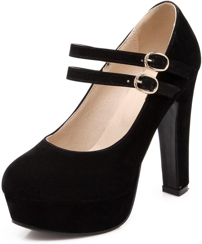 AIWEIYi Womens Flock Double Buckles Ankle Strap High Heels Dress Pump shoes Black