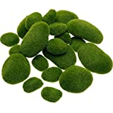 TecUnite 20 Pieces Artificial Moss Rocks Decorative Faux Green Moss Covered Stones (4 Size)