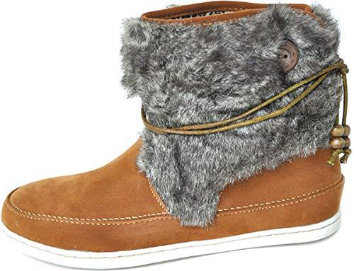 Unbekannt Damen Schuhe Fake Fur Kunstfell Retro Stiefel Booties Camel Schlupfstiefel 36