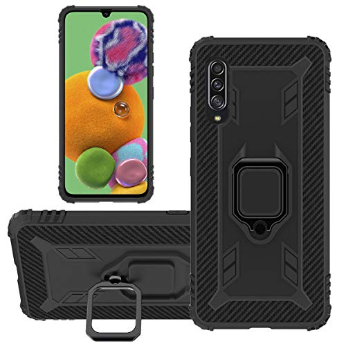 hülle Samsung A90 5G Hülle Galaxy A90 5G Cover [Military Grade Drop Tested] Carbon Erscheinungsbild Hülle Cover mit Ständer Funktion & Auto Halterung Funktion für Samsung Galaxy A90 5G (Schwarz)