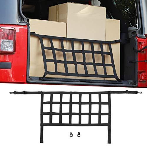 Car Trunk Net, Mesh Cargo Net for 2007-2018 Jeep Wrangler JK JKU Rubicon Sahara Sport 2/4 Door (Black)
