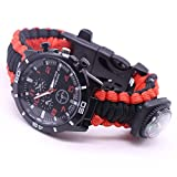 Longay Camping Bracelet, Outdoor Survival Watch Bracelet, Outdoor Survival Watch Bracelet Paracord Compass Flint Fire Starter Whistle New (G)