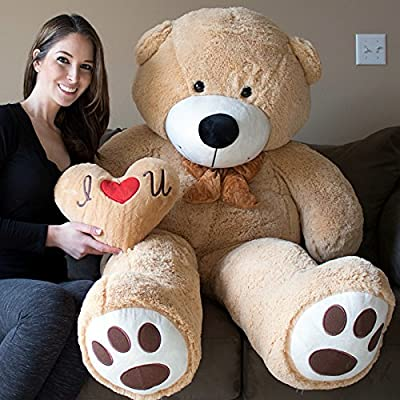 Giant Brown Teddy Bear with Heart Shape Pillow