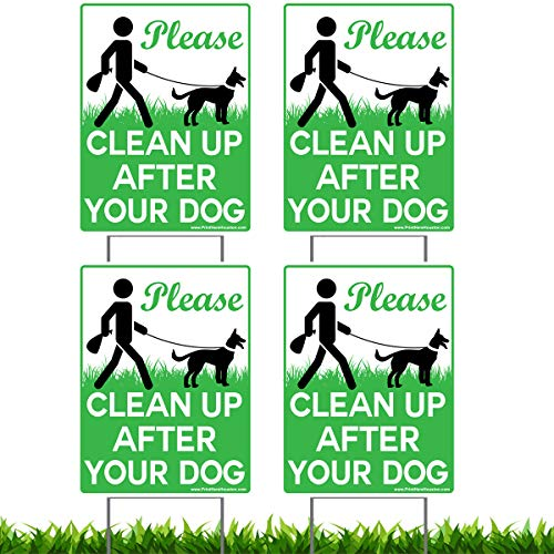 "Vibe Ink 4 Pack of 9 x 12"" Please Clean Up After Your Dog - No Pooping Dog Lawn Signs with 4X Metal Wire H-Stakes Stands Included"