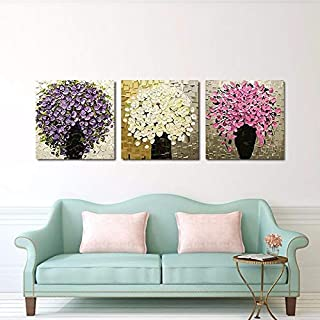 DIU 100% Hand Painted 3 Pcs Set Abstract Knife Flower Oil Painting On Canvas Picture Home Wall Decoration Art Modern For L...