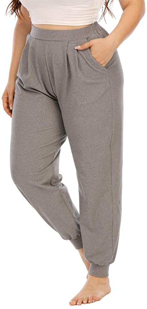 Gboomo Womens Plus Size Sweatpants High Waist Casual Jogger Loose Jersey Workout Track Pants with Pockets