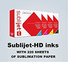 Sublijet HD Ink Cartridges for Sawgrass Virtuoso SG400 and SG800 Printers. Complete Set (CMYK). with 220 Sheets of Our Sublimation Paper Made in Japan.