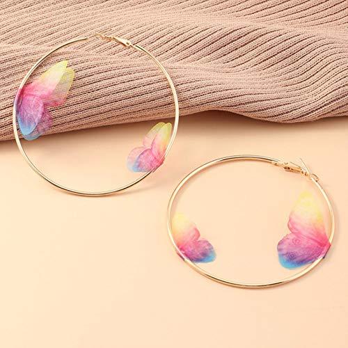 LIUL Hermosos Pendientes de Mariposa Doble para niñas de Verano Europeo, Gran círculo Redondo, Pendientes de aro de Oro, joyería