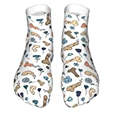 WEEDKEYCAT Penis Flower Pattern Adult Short Socks Cotton Classic Socks for Mens Womens Yoga Hiking Cycling Running Soccer Sports