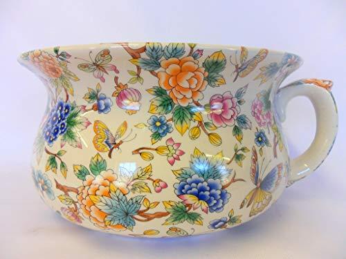 Heron Cross Pottery Large size chamber pot planter in oriental garden design