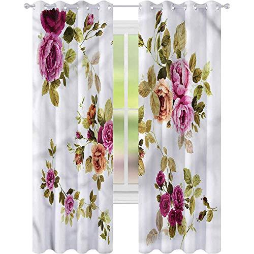 Cortinas opacas para dormitorio con flores de acuarela, rama de rosa, 52 x 72, cortinas decorativas para sala de estar