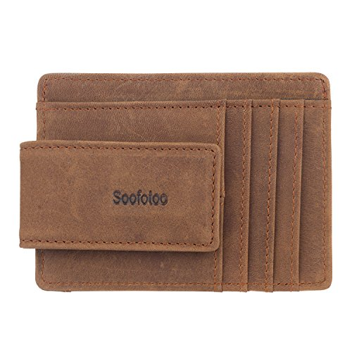Soofotoo unisex vintage RFID Blocking portafoglio Bifold carta ID finestra di protezione antifurto