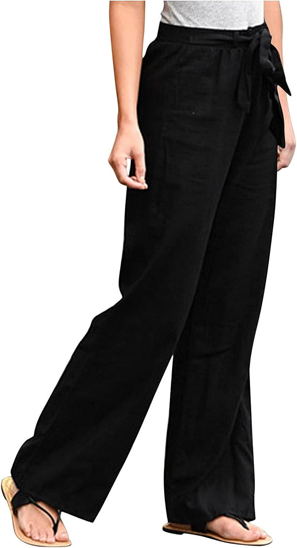 JINRS Women's Cotton Linen Pants Drawstring Elastic Waist Side high Rise Casual Loose Pant Pocket Casual Plus Size Pants
