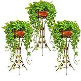Malayas 3PCS Soporte para Plantas Metálico Porta Macetas para Decoración Soporte Macetero Interior Bastidor para Macetas Hierbas Flores Color Bronce