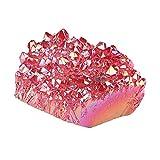 Amogeeli Cristal de roca natural recubierto de titanio, piedra en bruto, piedra preciosa, cuarzo cristal, pieza natural, reiki, decoración Feng Shui, color rojo