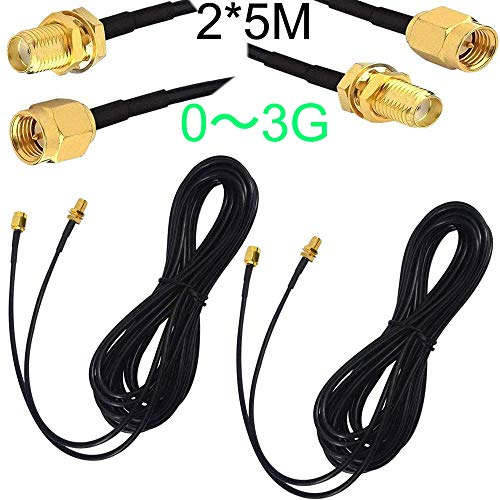 RUNCCI-YUN 2pcs SMA Kabel 5m,SMA-Stecker,SMA Verlängerung,SMA Kabel RG174 für 0~3G LTE Antenne Homematic CCU3 CCU2 Raspberry Pi Hsdpa Huawei 0~3G DTV WiFi Router