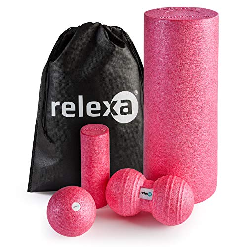 relexa Faszien Starter Set 5-teilig, Faszienrollen / Faszienbälle für Verspannungen & Verklebungen, zur Selbstmassage aller Muskeln, vielseitige Anwendung, inkl. eBook, in Pink