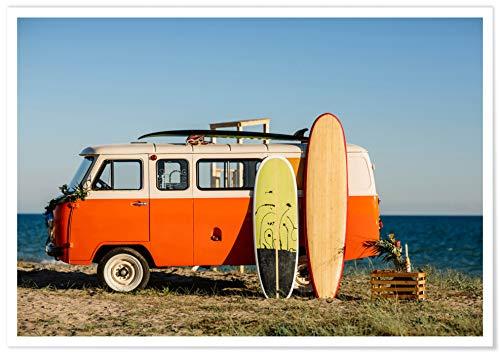 Panorama Póster con Paspartú Viaje de Surf 70 x 50 cm - Impreso en Papel 250gr - Póster Pared - Cuadros Paisajes - Póster Naturaleza - Cuadros Decoración Salón y Dormitorio