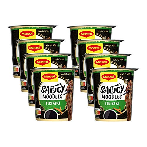 Maggi Magic Asia Saucy Noodles Teriyaki Cup, 8er Pack (8 x 75g)