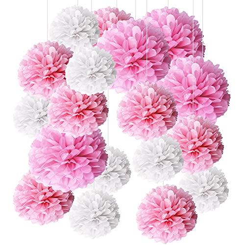 FANDE Dünner Papierpompon, 18 STÜCK Dekorativer Papierblumenball, Papier dekorativer Pompon, Geburtstagsfeier Hochzeitsfeier Feierdekoration, Weiß und Rosa, 20/25/30cm