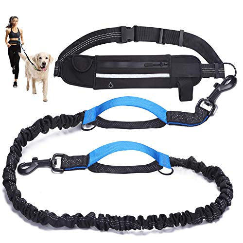 Running Leash Belt, Waist Leash for Running Large Dog, Bungee Hands-Free Dog Leash, Extendable Walking Leashes with Adjustable Belt