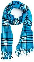 Plum Feathers Super Soft Luxurious Cashmere Winter Scarf (Aqua Plaid)