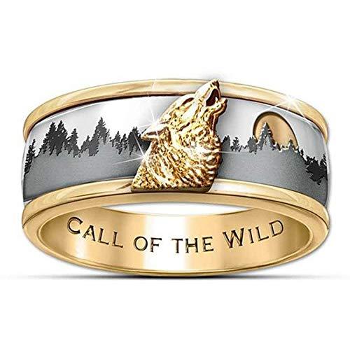 LINYIN 2PCS Nieve montaña Lobo Cabeza Anillo de Estilo dominante Anillo Creativo Anillo de aleación Creativa Anillo 12号 Ring
