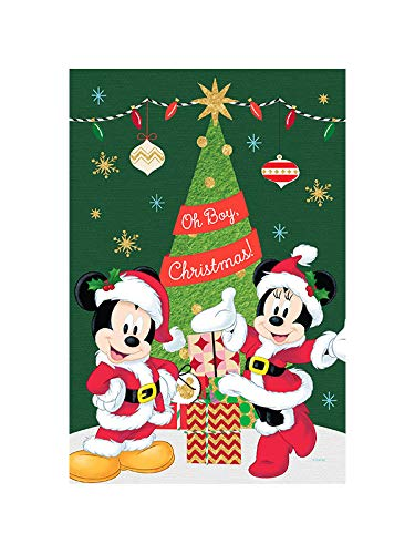 Flagology, Disney, Oh Boy Christmas Mickey and Minnie–Garden or House Flag, Outdoor/Indoor, Exclusive Premium Fabric, Printed on Both Sides, Officially Licensed Disney, Christmas (12.5' x 18')