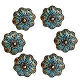 6 maniglie per porta a forma di zucca, blu dipinte maniglie per porte, in ceramica smaltata, per armadi, bagno, armadi, cassetti (blu)