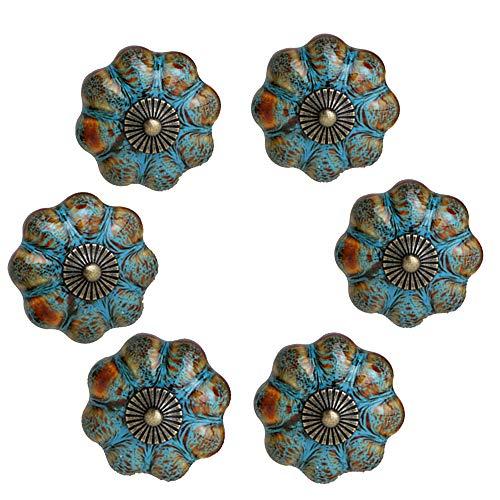 6 tiradores de puerta de calabaza, color azul, de cerámica esmaltada, para armarios, baños, armarios y cajones (azul)
