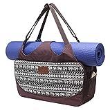 #DoYourYoga Bolsa de Yoga «Vimalaa Fabricada con Lona (Lienzo de algodón), con un laborioso Acabado. ¡para esterillas de Yoga EXTRAGRANDES y SUPERANCHAS! Elefantes