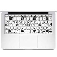 igsticker MacBook Air 13inch 2010 ~ 2017 専用 キーボード用スキンシール キートップ ステッカー A1466 A1369 Apple マックブック エア ノートパソコン アクセサリー 保護 010247 星 白 黒