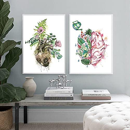 MKWDBBNM Floral Cerebro Corazón Anatomía Arte Lienzo Pintura Cartel Vintage Impresión Abstracta Hoja Imagen de Pared Médico Decoración de Oficina | 40x50cmx2 Sin Marco